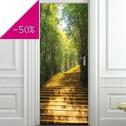 Sticker capitonn escalier bambous pour portes - Stickers porte capitonne ...