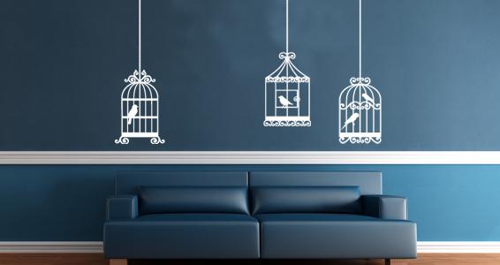 sticker 3 Cages à oiseaux