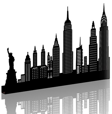 sticker NEW YORK MOYEN NOIR SHADOW-3D