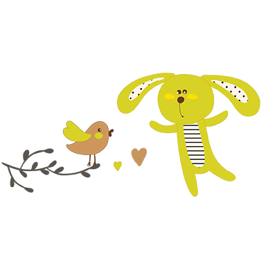 sticker Lapin et oiseau sur branche