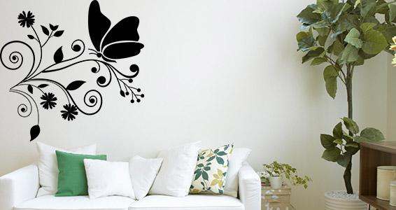 sticker papillons et fleurs