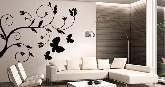 sticker fleurs arabesques et papillons
