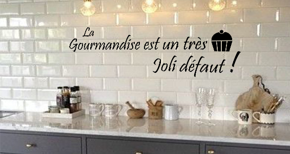 Stickers muraux citation gourmandise sticker for Decoration murale gourmandise