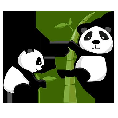 sticker Panda sur Bambous