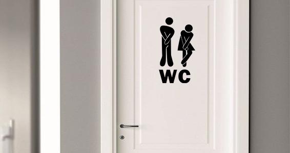 sticker pictogramme toilette amusant