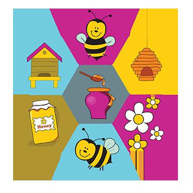 sticker ruche d'abeilles