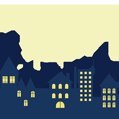 sticker ville de nuit