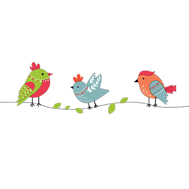sticker petits oiseaux colorés