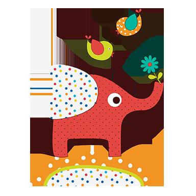 sticker éléphant en couleur