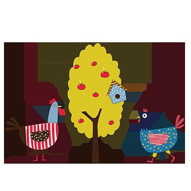 sticker poules colorées