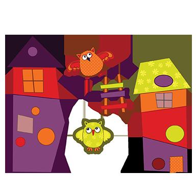 sticker Maisons et oiseaux