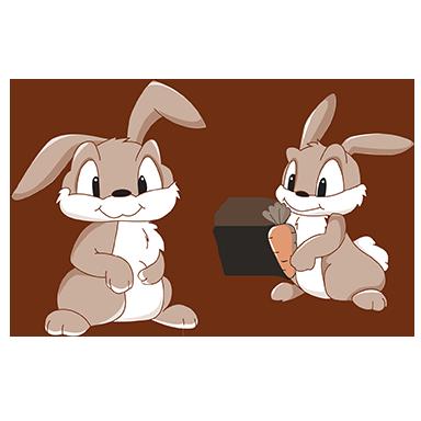 sticker Lapins et carottes