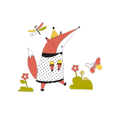 sticker renard et papillon