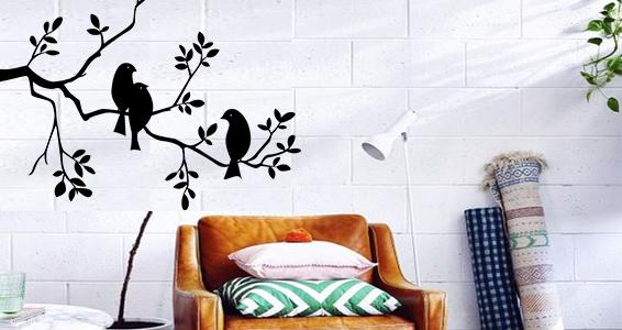 sticker oiseaux sur arbre