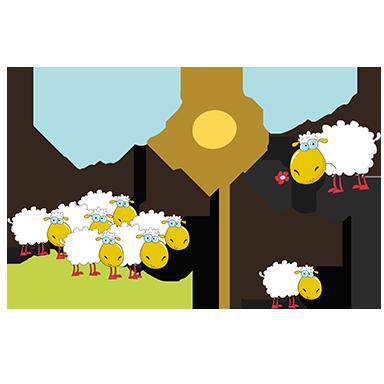 sticker famille mouton
