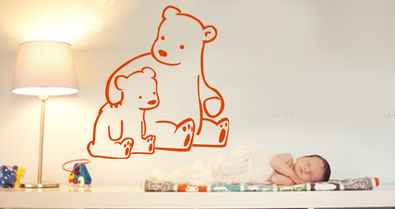 sticker famille ours