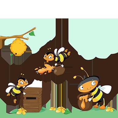 sticker ruche et abeilles