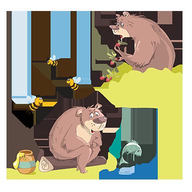 sticker ourson et abeilles