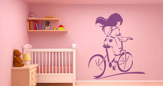 sticker fille en vélo
