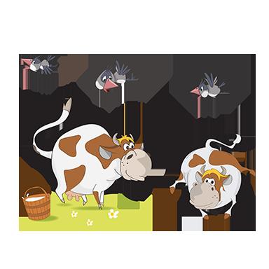 sticker vaches et oiseaux