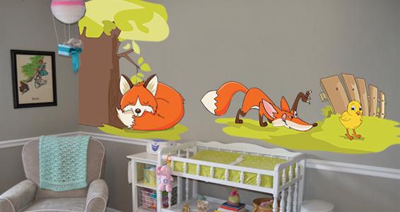 sticker renard et poussin