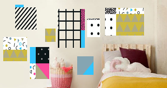 stickers muraux formes g om triques sticker d coration murale. Black Bedroom Furniture Sets. Home Design Ideas