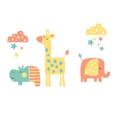 sticker animaux et nuages