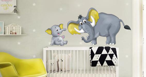 sticker famille éléphant
