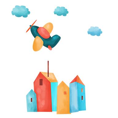 sticker Avion et maisons