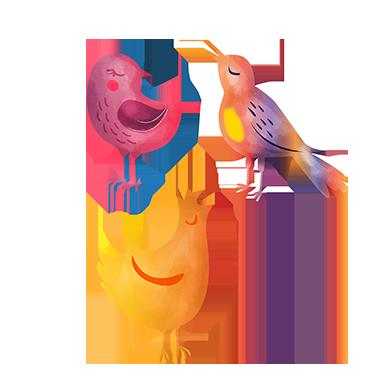 sticker groupe d'oiseaux