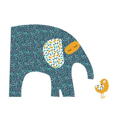 sticker éléphant et oiseau