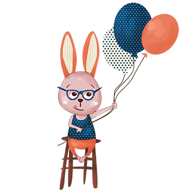 sticker lapin et ballons
