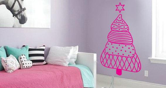 sticker arbre de noel rose