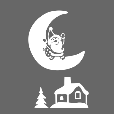 sticker lune et maison
