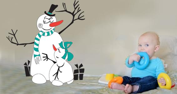 sticker couple de bonhommes de neige
