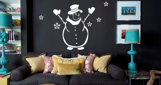 sticker bonhomme de neige accueillant