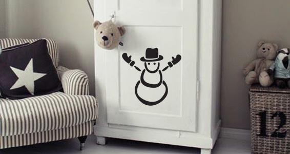 sticker bonhomme de neige avec chapeau