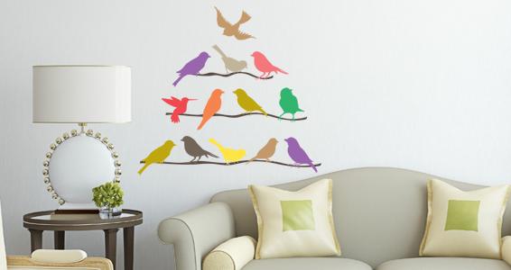 sticker oiseaux en couleurs sur branches