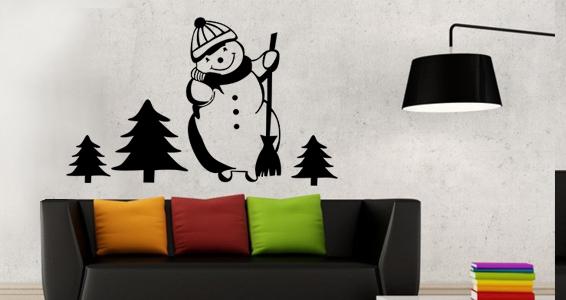 sticker bonhomme de neige dans la foret
