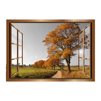 sticker Trompe l'oeil fenetre sur l'automne