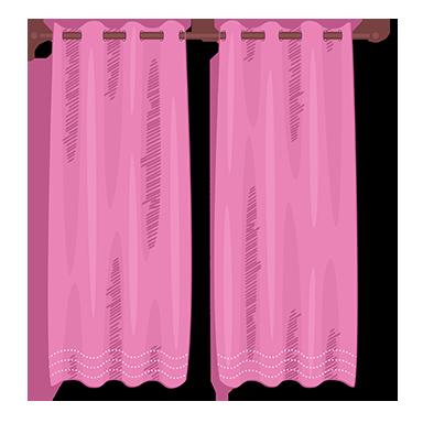 sticker trompe l&#39oeil rideaux rose