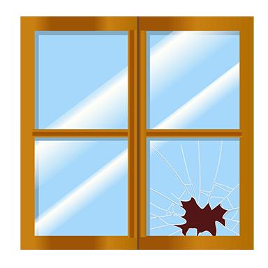 sticker Trompe l&#39oeil fenêtre cassée