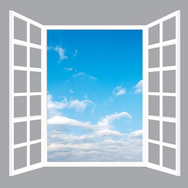 sticker trompe l'oeil fenêtre sur ciel bleu