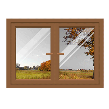 sticker trompe l'oeil fenêtre sur vue automnale