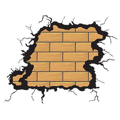 sticker trompe l'oeil fissures murales briques