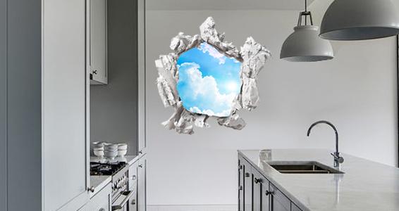 sticker trompe l&#39oeil vue sur ciel et nuages