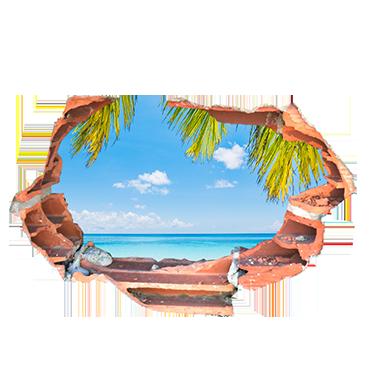 sticker trompe oeil vue sur vue sur plage