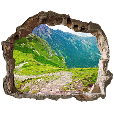 sticker trompe l'oeil vue montagne
