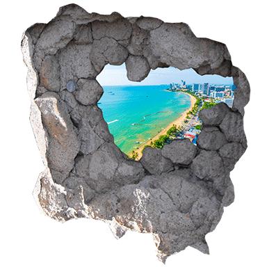 sticker trompe oeil vue sur vue sur plage et ocean