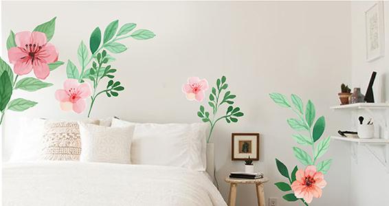 sticker feuilles et fleurs